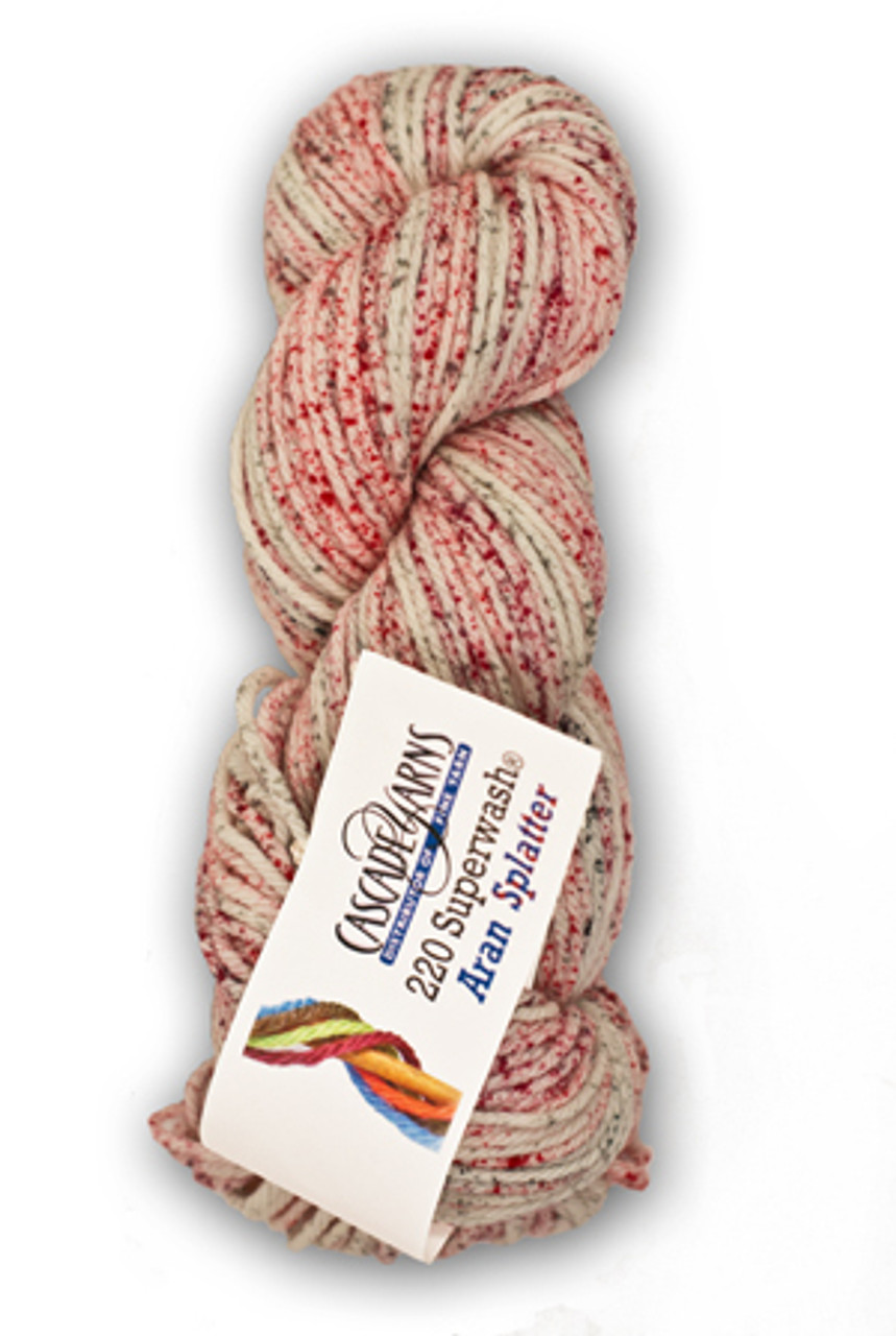 Cascade 220 Aran Splatter Yarn, 100% Superwash Merino Wool